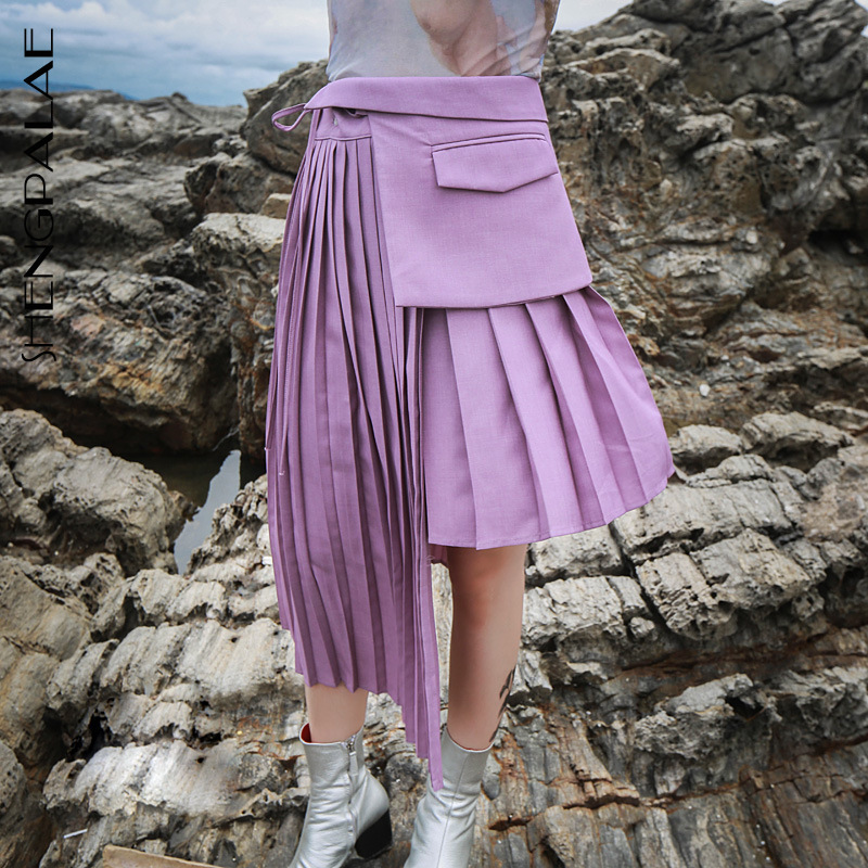 SHENGPALAE 2020 Spring Fashion Irregualr Pleated Skirt High Waist All-match Female's Asymmetrical Bandage Design Bottoms YF868