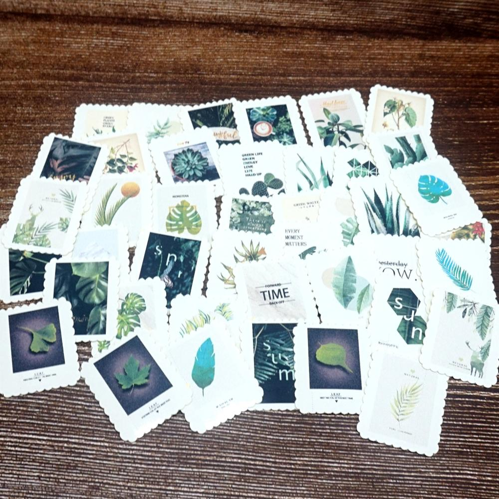 42PCS Green Plants Paper Stickers DIY Ablum Diary Scrapbooking Decoration Label Stickers Students Kids Girls Boys Gift Stickers
