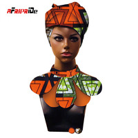 African Print Ankara headwrap and Earring for Women African Ankara Fabric head scarf, Stud Earrings and Head Scarf 3 Piece SP021
