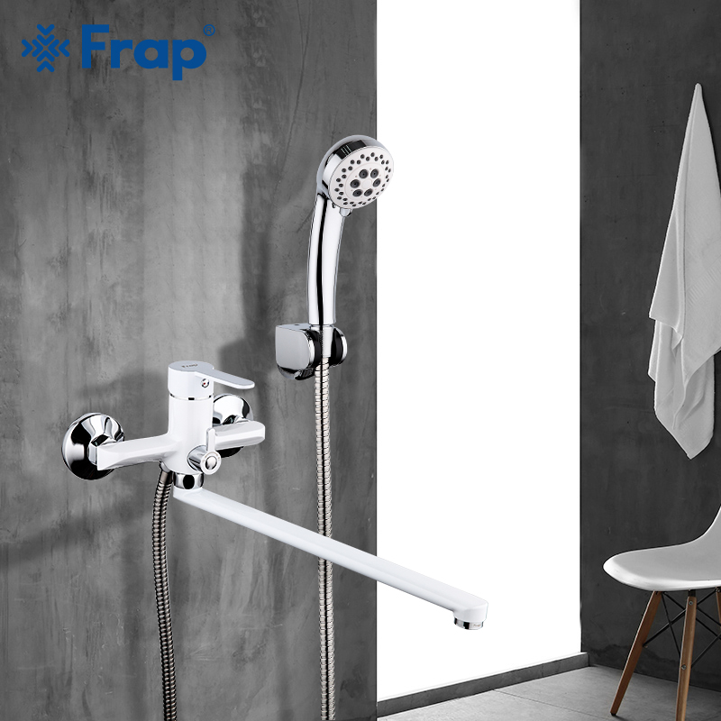 Frap White Bathroom Faucet outlet pipe Bath shower faucet Brass body surface Spray painting shower head bathroom tap