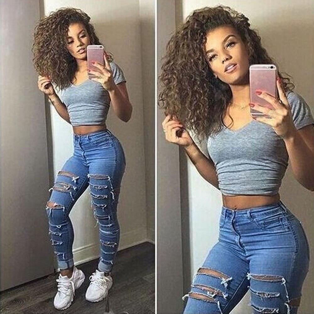 Ripped Jeans Women Slim High Waist Boyfriend Jeans Cotton Summer Autumn Casual Streetwear Denim Pencil Long Pants Skinny#J30