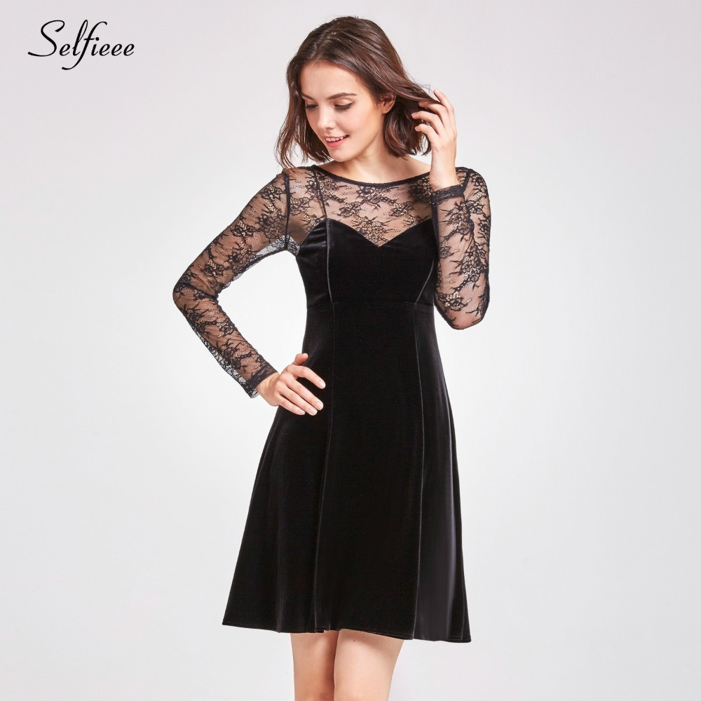 New Sexy Dresses A Line O Neck Lace Mini See Through Sexy Formal Dresses Cheap Autumn Night Club Party Dresses Robe Femme in Dresses from Women 39 s Clothing