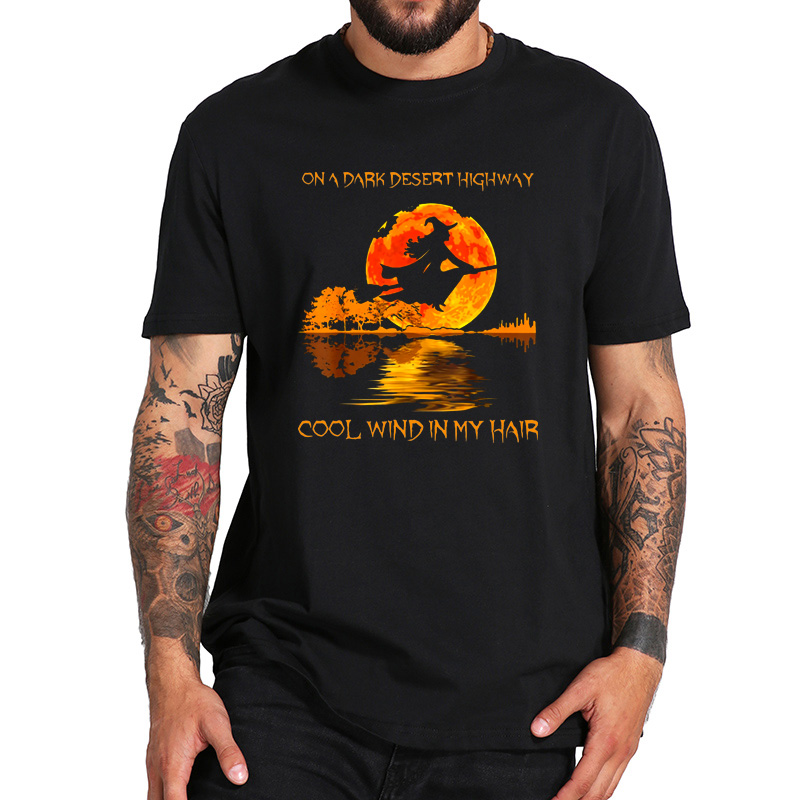 On A Dark Desert Highway T Shirt Hotel California The Eagles Album Funny Witch Halloween Shirt Breathable 100% Cotton Tops