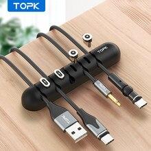 TOPK Kabel Organizer & Magnetische Stecker Box Silikon USB Kabel Wickler Flexible Kabel Management Clips für Maus Kopfhörer Halter