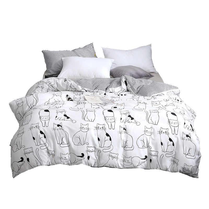 Nuevo juego de cama de gato de dibujos animados, juego de cama de algodón con edredón Kawaii para mujeres, niñas, camas King Twin Queen Size, sábanas y fundas de almohada