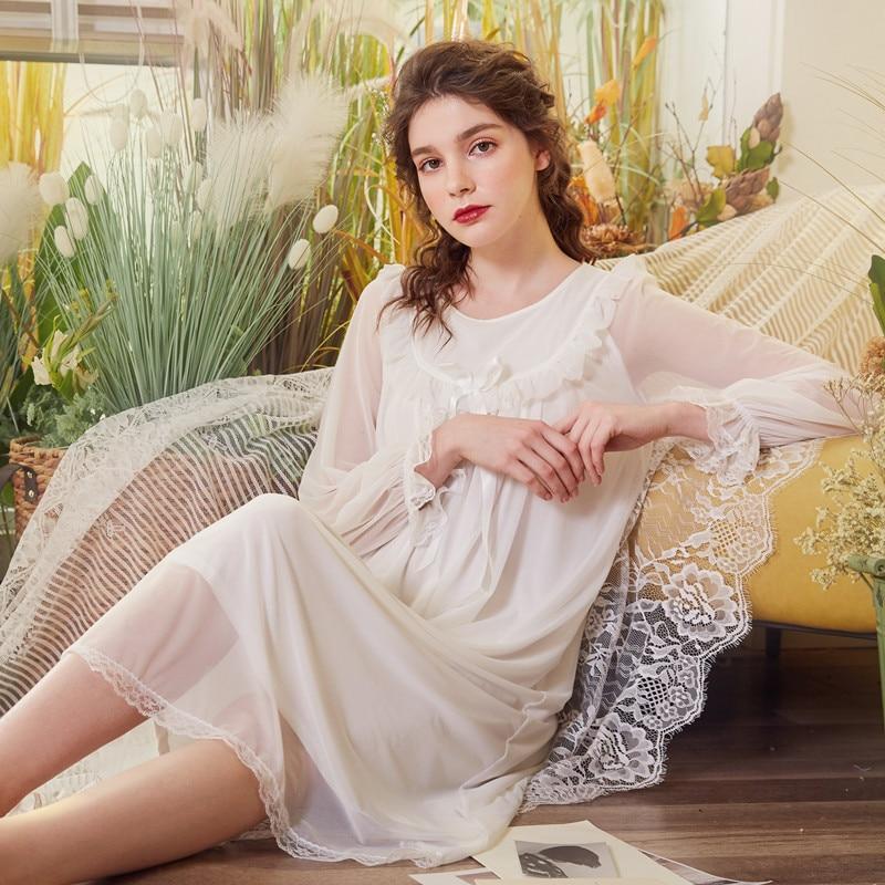 Summer Autumn Popular Long Sleeve Women Sleeping Dress  Tulle Thin Nightdress Elegant Ladies Girl Loose Comfortable Nightgown