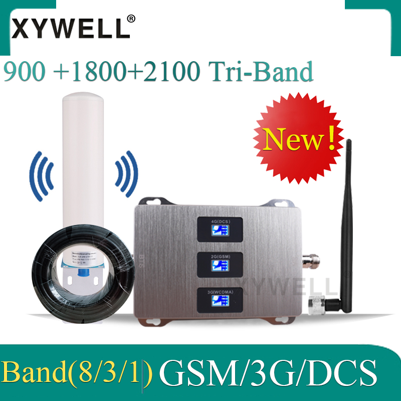New!! 900/1800/2100 Tri-Band Cellular Amplifier Gsm Repeater DCS LTE GSM 2g 3g 4g Mobile Signal Booster Cellular Signal Repeater