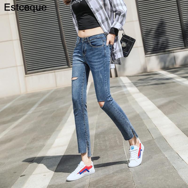 Новинка, рваные джинсы, женские винтажные стильные джинсы с разрезом по бокам, женские облегающие джинсы с высоким хвостом, тонкие женские
