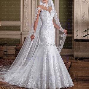 Image 3 - Vestido de novia de manga larga, elegante vestido de boda de sirena con cuello alto, encaje, hecho a medida, 2019