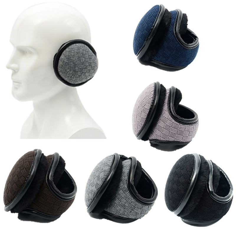 Men Women Winter Polar Fleece Earmuffs Plaid Crochet Knitted Thick Lining Warm Foldable Ear Warmers Cover For Outdoor Skiing