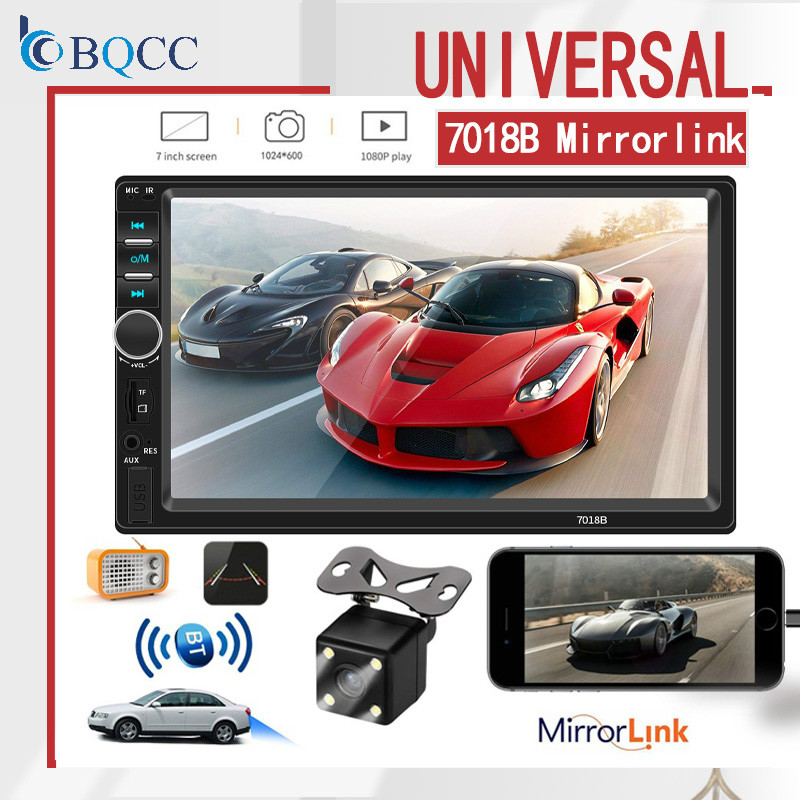 Car Radio 2Din General Car  7 '' Lcd Touch Screen Stereo MP5 Player USB FM Bluetooth Audio Support Rear View Camera 7018B
