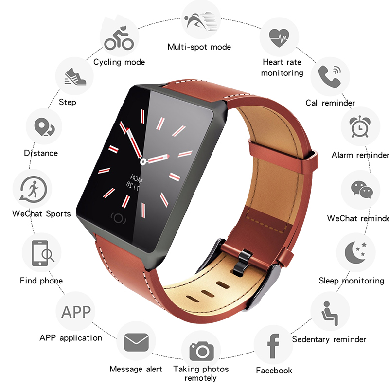 Bluetooth Smart Watches For Men Waterproof IP67 Sports Camera Call Leather Fitness Smart Watch Men Women For iPhone Android IOS