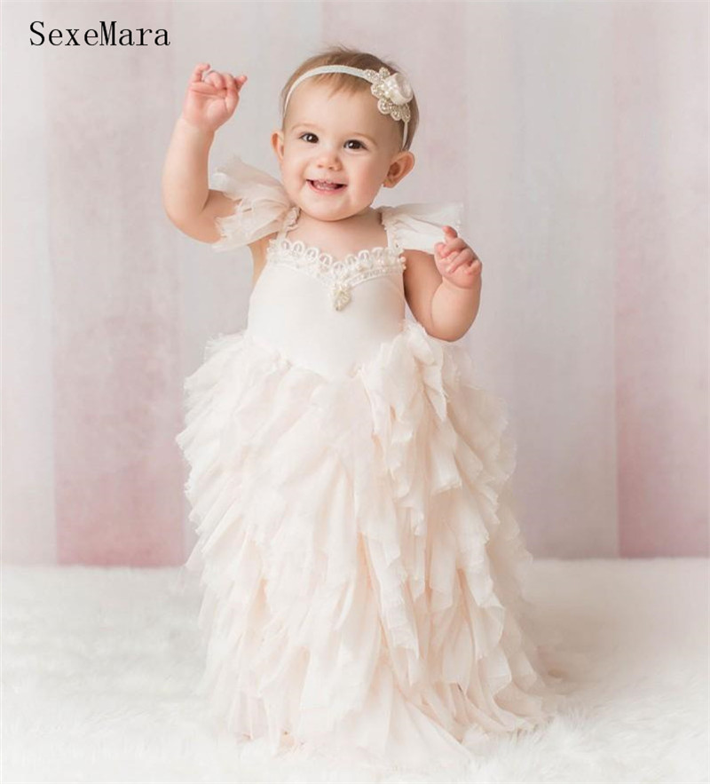 Adorable Flower Girls Dresses For Weddings Pearls Toddler Pageant Dress Tulle Tiered First Birthday Party Dress