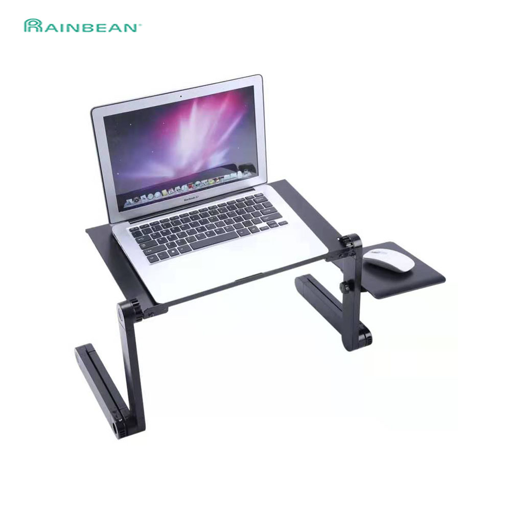 Adjustable Aluminum Laptop Desk Table Ergonomic Portable Notebook Stand Tray For Sofa Bed With Mouse Pad Cooling Fan Black