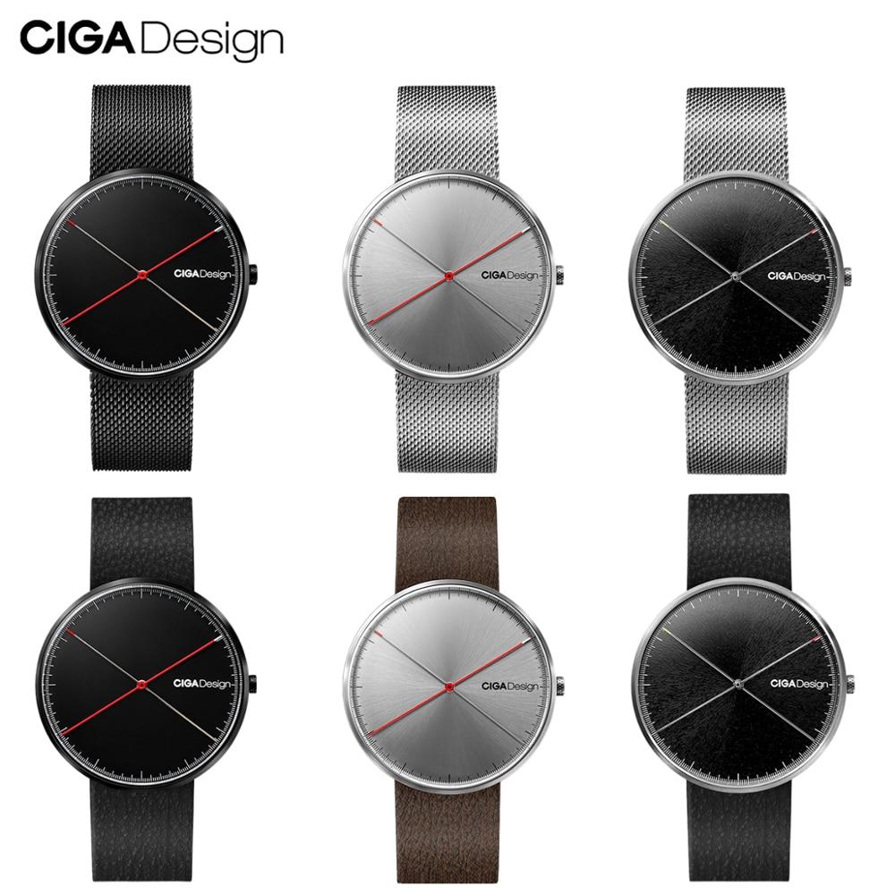 CIGA conception CIGA montre à Quartz mode Simple Quartz acier/cuir ceinture point rouge conception prix montre hommes montre série X