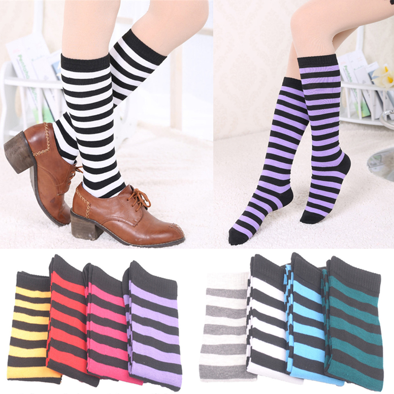 Fashion Cotton Women Striped Knee High Socks Women Colorful Stripes Long Socks Preppy Style Solid Color Stockings Knee Socks