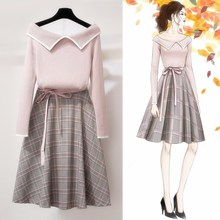 Autumn Sweet Plaid Skirts 2 Piece Set Casual Women Turn-down Collar Long Sleeve Sweater+A-line Skirt Suits Slim