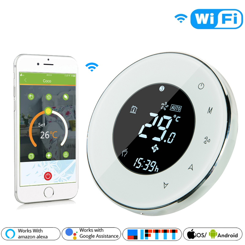 Wifi Smart Thermostat Water Floor Heating LCD Touch Screen With Remote Control Works For Alexa Google Home IFTTT BHT-6000-GALW