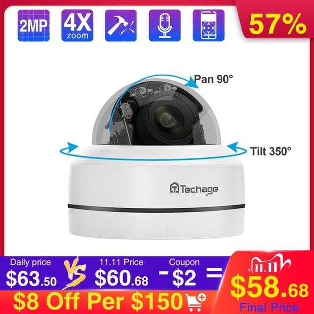 Techage 1080P 4X Zoom Lens PTZ POE IP Camera Mini Speed Dome Audio Waterproof 2MP CCTV Security P2P Onvif Video POE Surveillance