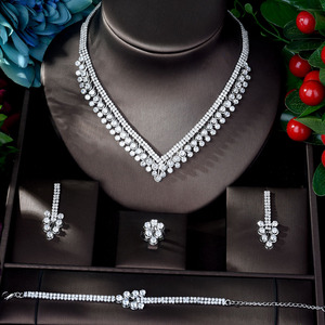 Image 2 - HIBRIDE Shinning Pave CZ Dubai Jewelry Sets 2020 Women Wedding Zirconia Leaf Design Copper 4pcs Jewelry Set collier mariag N 896