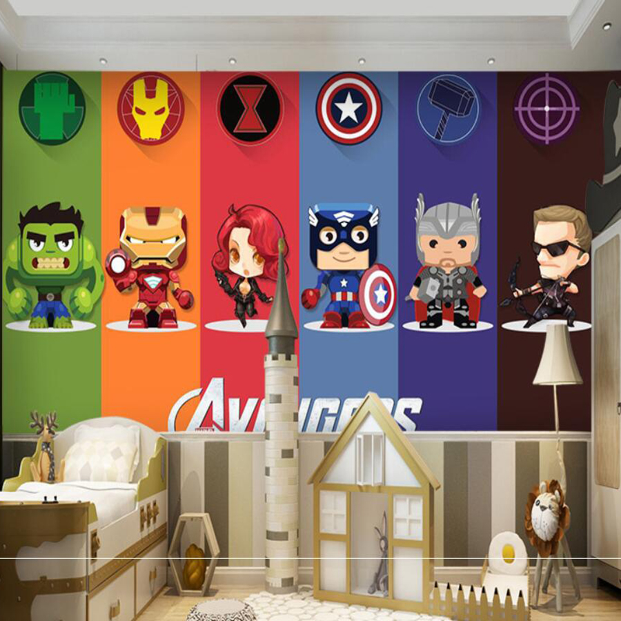 Milofi Custom 3D Wallpaper Mural Avengers Cartoon Anime Children Room Hand-painted Iron Man Hulk Boy Wallpaper Wallpaper Wall