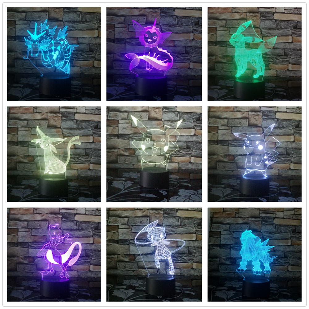 Pokemon Go Action Figure 3D Lamp 7 Colors Change Pikachu Mewtwo Umbreon Gyarados Bay Role Visual Romote Control Night Light Gift