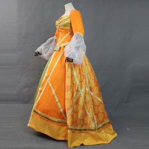 Image 3 - Top Quality 2019 Movie Aladdin Jasmine Princess Orange Dress Women Girl Halloween Party Cosplay Costume Arabian Royal Gown Dress