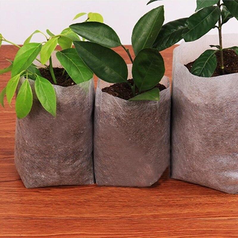 Top 300Pcs Non Woven Biodegradable Nursery Bags Plant Grow Bags Fabric Seedling Pots Nursing Raising Growing Bags (20X20Cm/7.8X7|Nursery Trays & Lids| |  - title=