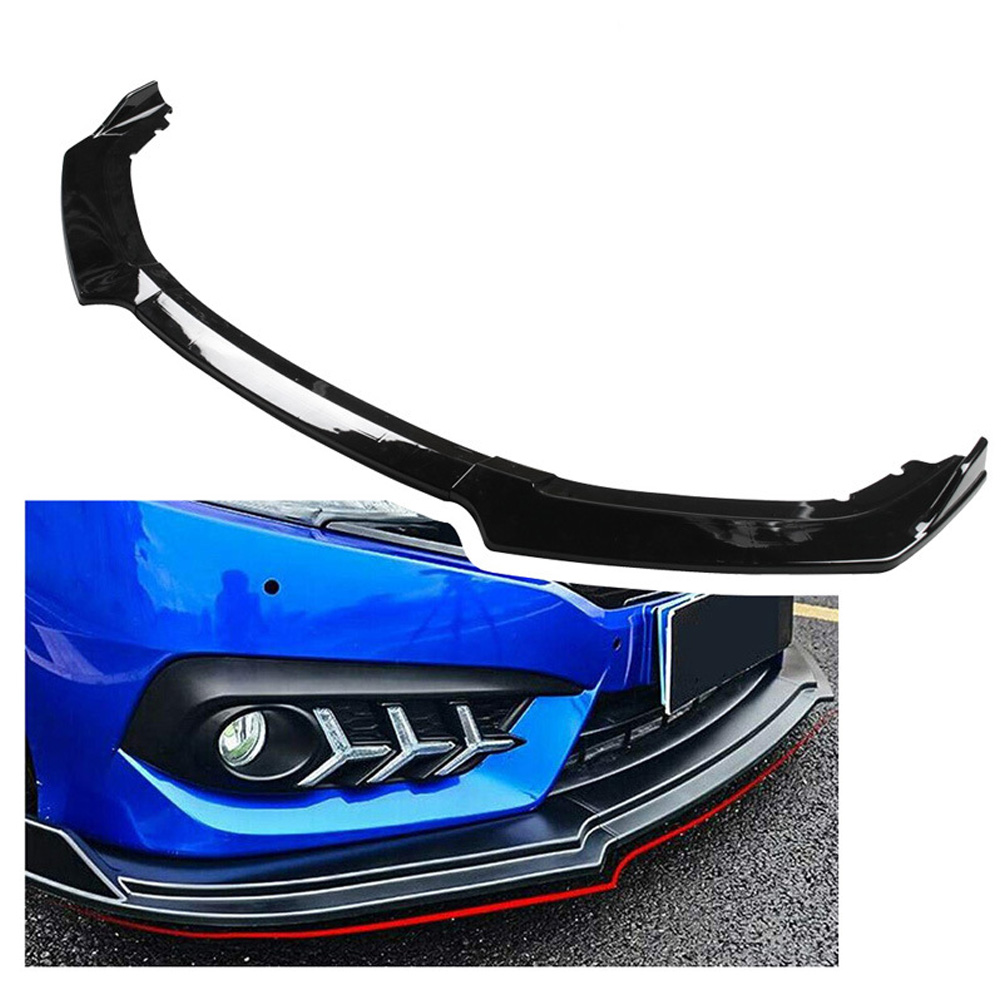 3Pcs Car Front Bumper Body Kit Spoiler Lip For 2016-2019 Honda <font><b>Civic</b></font> New Black High Quality Front Body Kit Bumper Lip Fe26 image