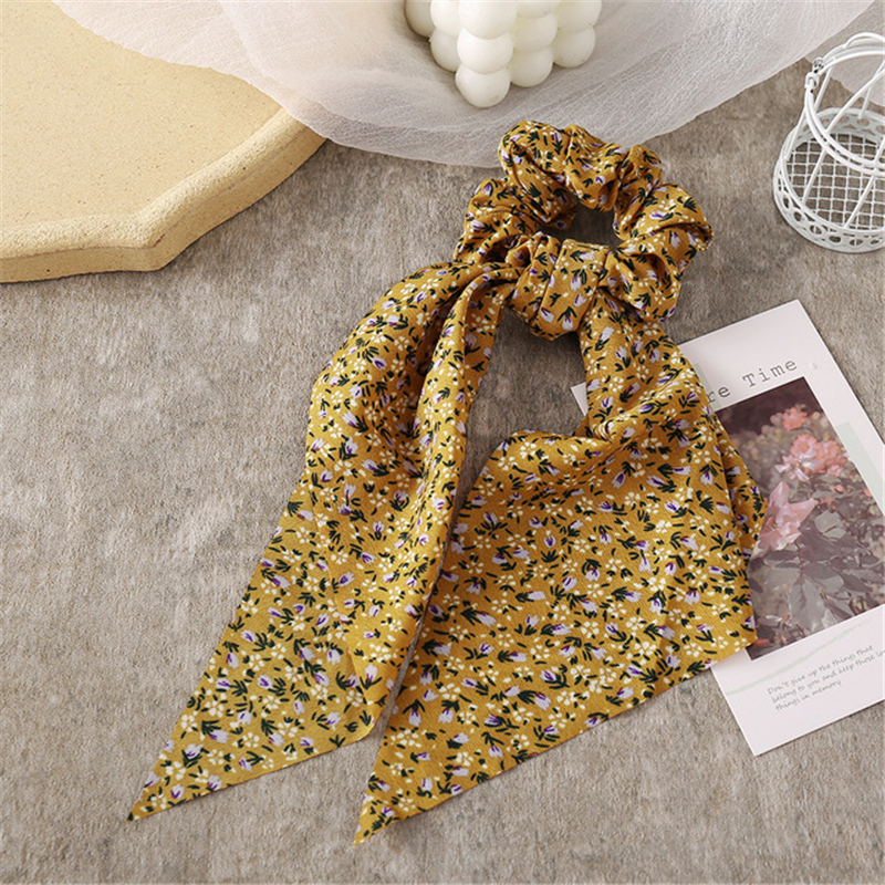 Hair accessories 2021 female ribbons large bowel ring floral pattern tie hair headdress ponytail light love for women exclusive