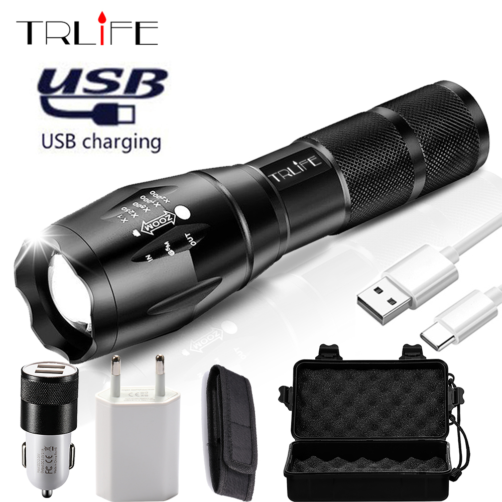 USB LED Tactical Flashlight Rechargeable Lanterna <font><b>X900</b></font> Power Bank Output Torch Zoomable Waterproof Shock Flashlight for Camping image