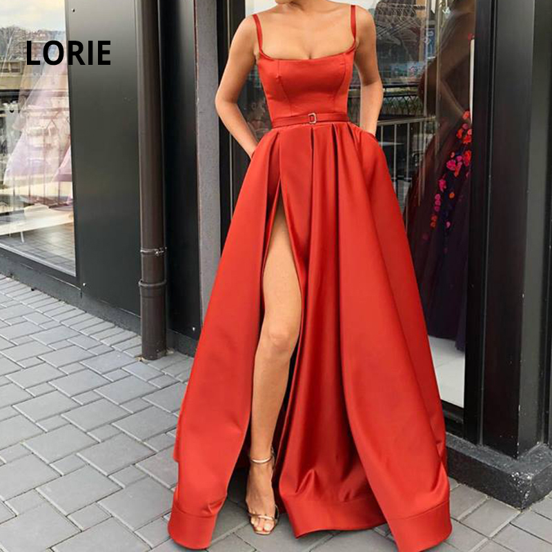 LORIE 2019 Formal Evening Party Dress With High Slit Satin Spaghetti Straps Evening Gown 2019 Robe De Soiree Prom Party Dress