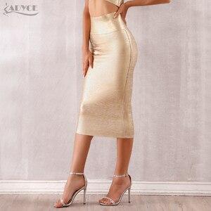 Image 4 - Adyce faldas de estilo vendaje para mujer, faldas ajustadas de media pantorrilla doradas, sexys, para fiesta de celebraciones y clubes, 2020
