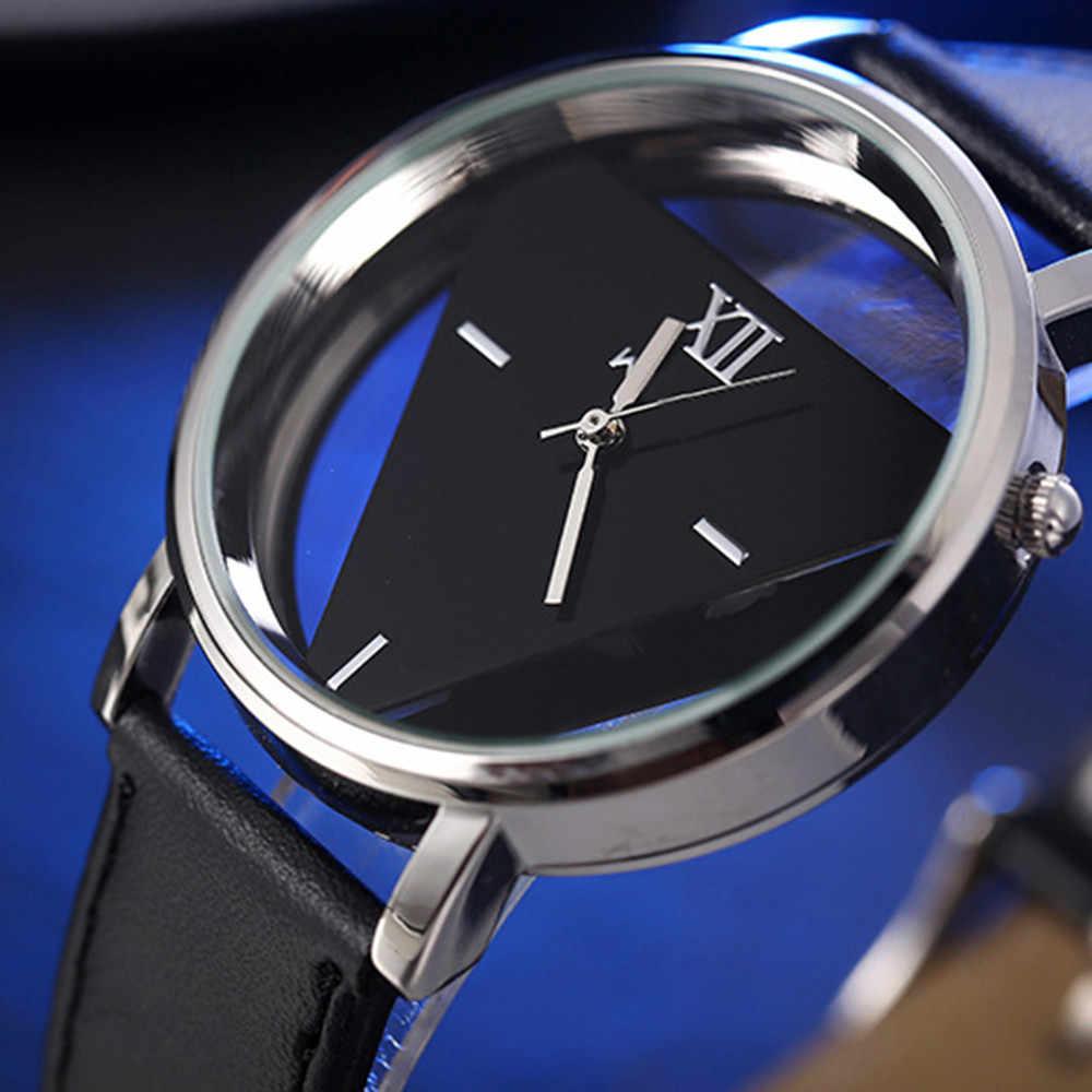 Reloj de 2019 para Hombre, de lujo, con correa de cuero analógica, relojes redondos de cuarzo, Reloj Masculino, Reloj nuevo para Hombre