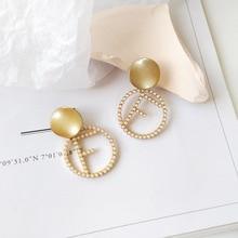 Japan Korea statement earrings temperament lady swing letter pearl drop for women