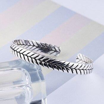Sterling Silver Geometric Pattern Woven Silver Bangle  3