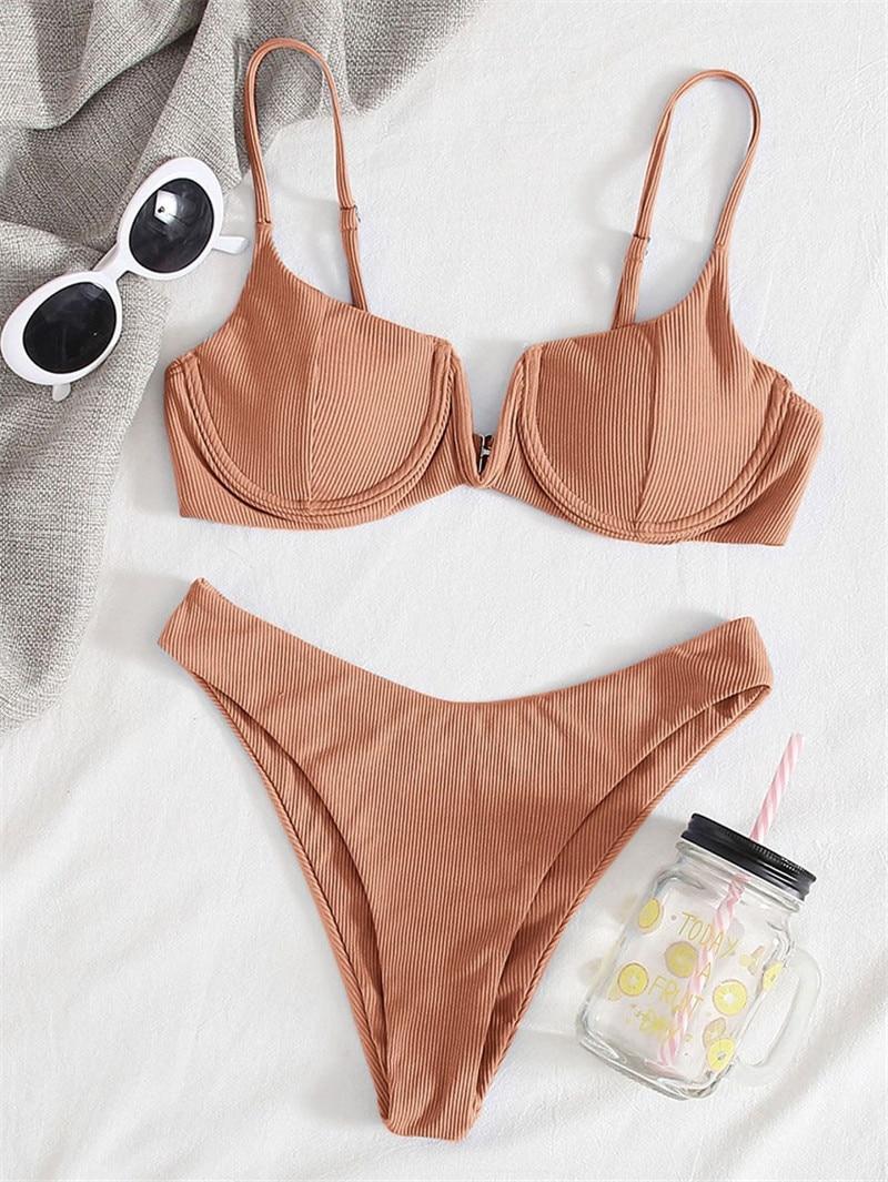 Sexy prążkowane fiszbinowe Bikini 2021 kobiet stałe v-biustonosz Push Up wyściełane dwuczęściowe Bikini Set wysokie cięcie strój kąpielowy stringi strój kąpielowy