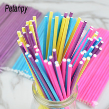 50pcs Solid color Paper Lollipop Sticks Cake Pop Favor Supplies for Craft Project Decoration 15cmx3.5mm