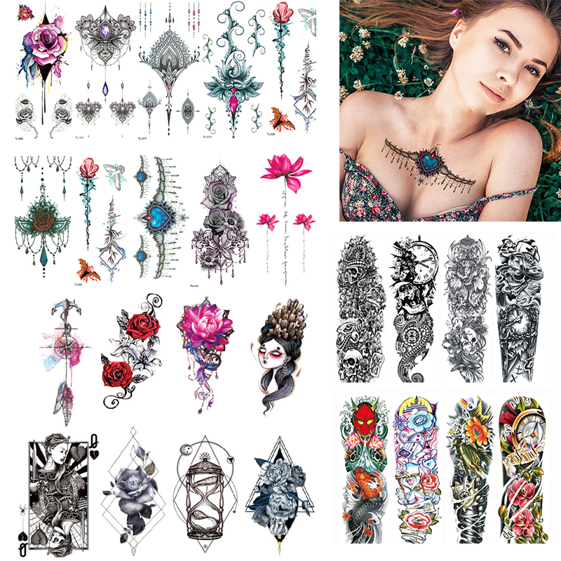 2/3/4/7Pcs Women Men Temporary Tattoos Disposable Temporary Tattoo Transfer Stickers For Body Art Flower Tattoos Water Decal