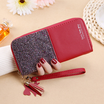2020 new wallet long ladies zipper female Korean version stitching contrast tassel wild card bag mobile phone