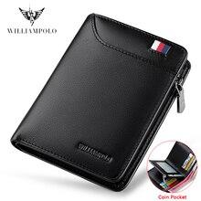 WILLIAMPOLO ile hakiki deri erkek cüzdan kart tutucu erkekler küçük cüzdan çanta fermuar cüzdan Casual standart cüzdan PL293