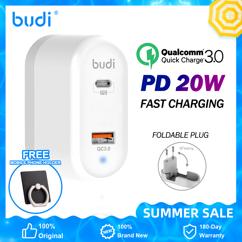 BUDI Quick Charge 3,0 QC PD зарядное устройство 20W QC3.0 Кабель с разъемом USB типа C для быстрой зарядки для iPhone 12 X Xs 8 Xiaomi телефон C PD зарядное устройство име...