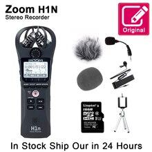 원래 줌 H1N 편리한 디지털 음성 레코더 휴대용 오디오 스테레오 마이크 인터뷰 마이크 킹스턴 16 기가 바이트 SD 카드 라벨