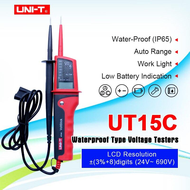 UNI-T UT15C Цифровой Измеритель Напряжения Водонепроницаемый AC/DC тестеры напряжения ЖК-дисплей 24V ~ 690V Авто диапазон вращения фазы Бесплатная до...