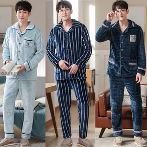 Мужские зимние Утепленные фланелевые пижамные комплекты, мужские пижамы с длинным рукавом размера плюс, пижамы для сна, домашняя одежда для...