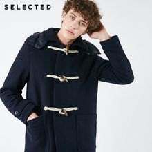 SELECTED Men's Winter Wool Blend Coat Detachable Cap Jacket New Buckle Down Jacket Clothes S | 418427553(China)