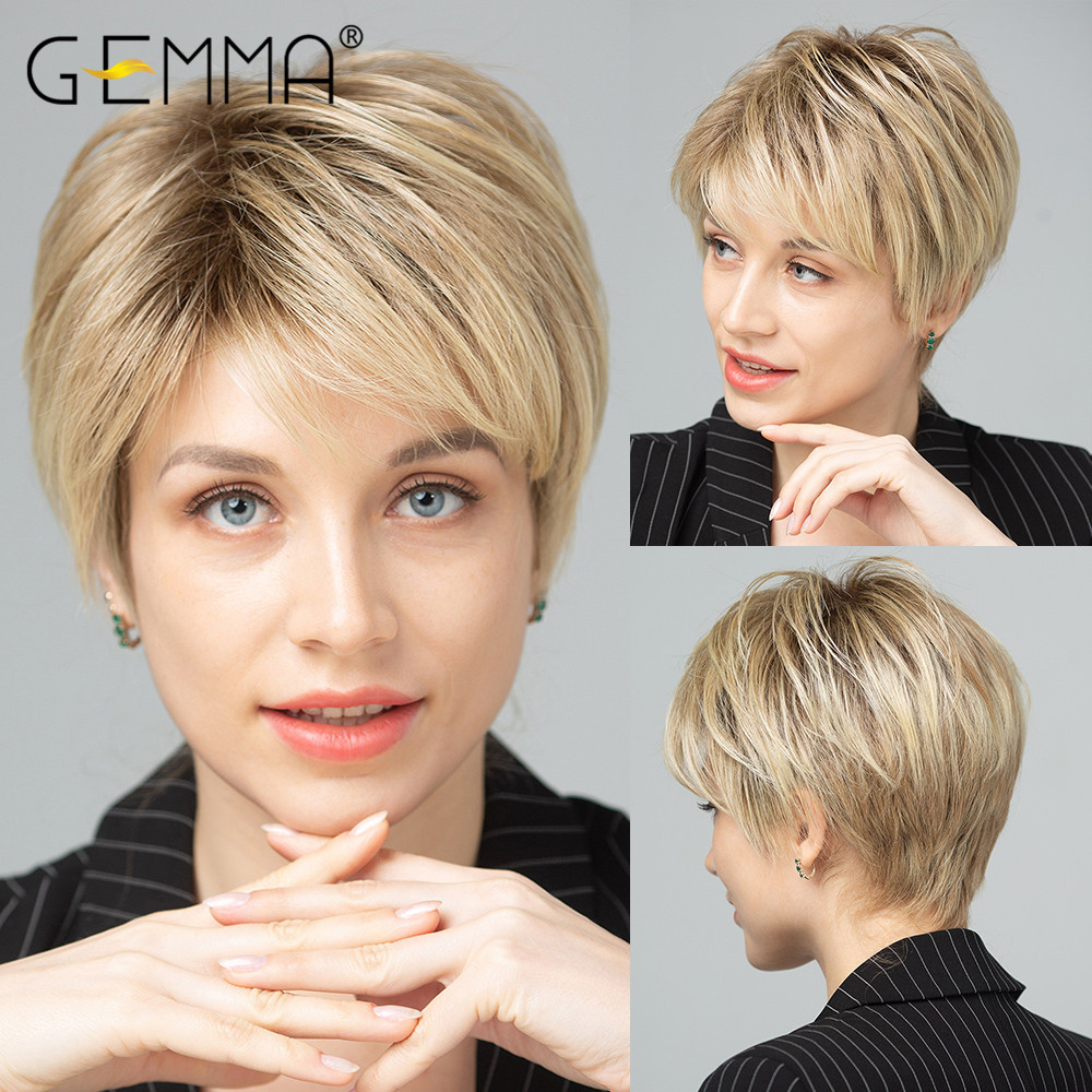 GEMMA Synthetic Short Straight Hair Wigs Natural Bob Style Pixie Cut Dark Root Ombre Brown Yellow Blonde Cosplay Wig for Women