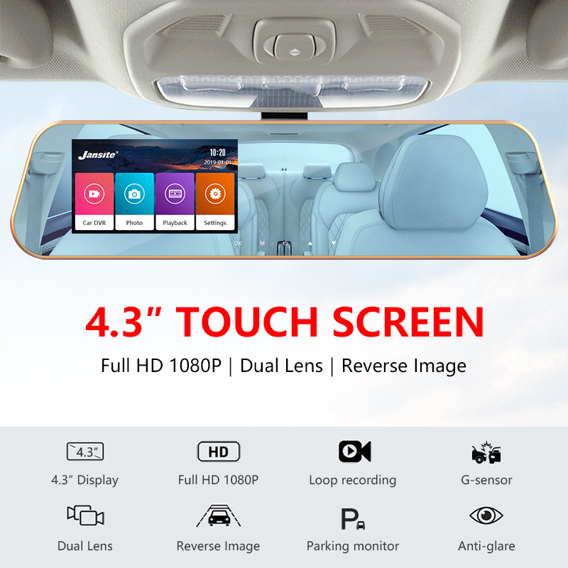 Image 2 - JMCQ Touchscreen Car DVR FHD Dual cameras rearview Car camera mirror Dashcam Auto Registrator record Automatic coverage G sensor-in DVR/Dash Camera from Automobiles & Motorcycles