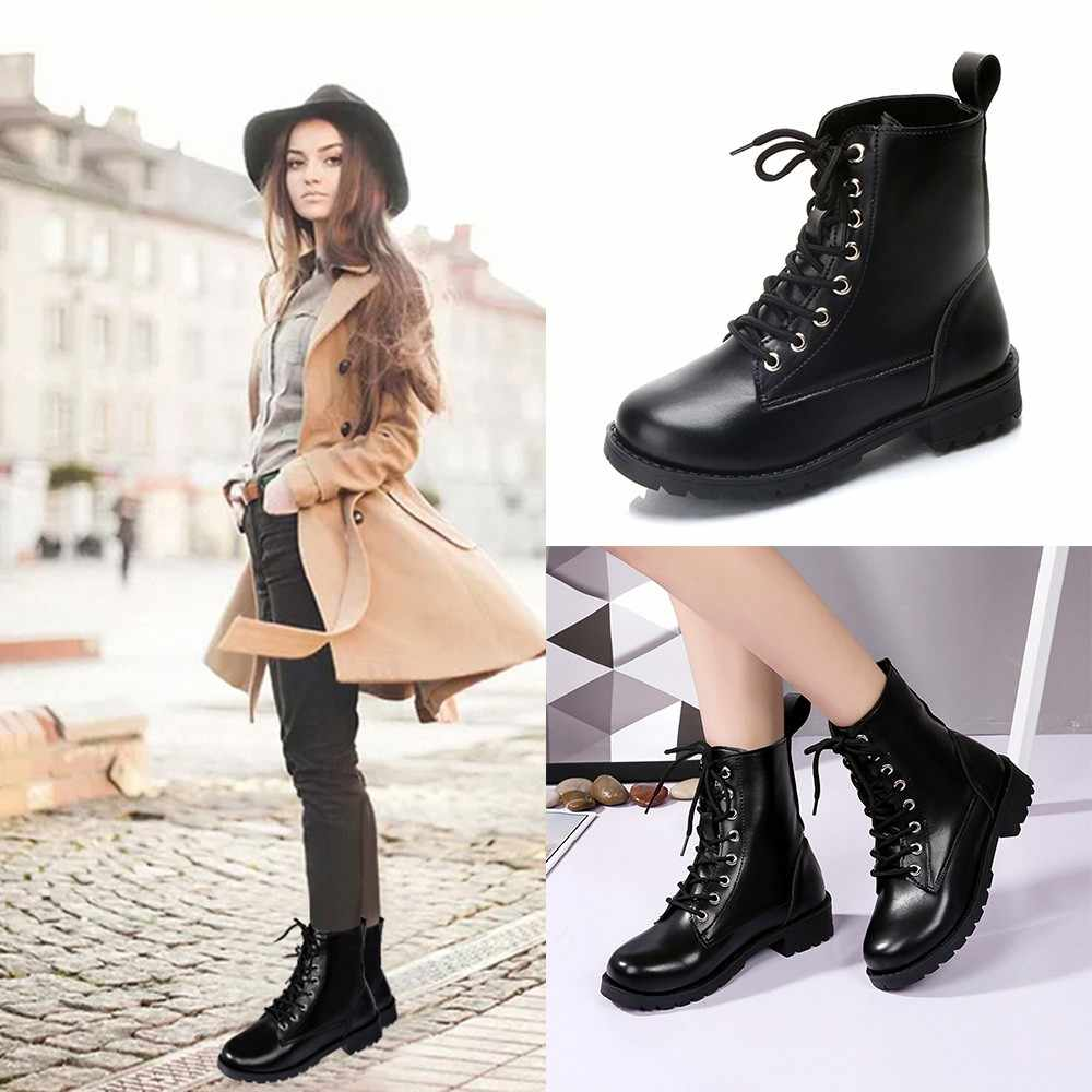 Botas Mujer Retro Solide Leder Lace-Up Ankle Bota Feminina Cano Curto Runde Kappe Schuhe Outdoor PU Leder Winter weibliche Schuhe 5