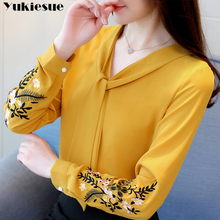 Long sleeve embroidery chiffon blouse womens tops and